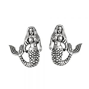 NEW Quirky Sterling Silver Jewellery: Small Oxidised Mermaid Stud Earrings (9mm x 12mm) (E227)
