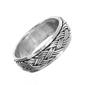 Sterling Silver Jewellery: Spinning Meditation Ring with Woven Design