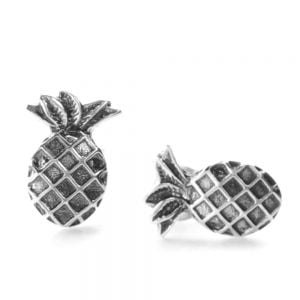 Oxidised Sterling Silver Pineapple Earrings