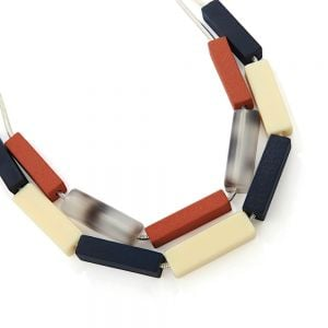 Bold Fashion Jewellery: Double Layered Necklace with Wood and Resin Tube Beads in Cream, Navy, Terracotta and Tortoiseshell (YK359)