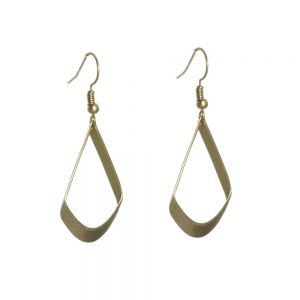 Unusual Fashion Jewellery: Matt Gold Curved Geometric Drops