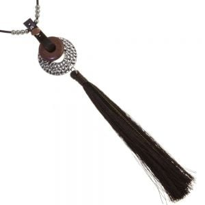 Statement Fashion Jewellery: Long Beaded Cord Necklace with Statemrnt Tassel Pendant and Wood and Stone Effect Beads