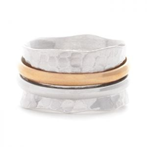 Hammered Sterling Silver and Gold Ring