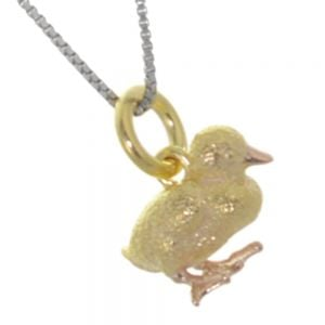 Quirky Sterling Silver: Cute Gold and Rose Gold Detailed Duckling Pendant (10mm x 12mm x 7mm) (N8)
