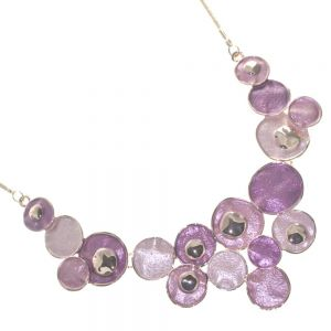 Statement Fashion Jewellery: Quirky Rose Gold Necklace with Textured Pink and Purple Discs (R202)