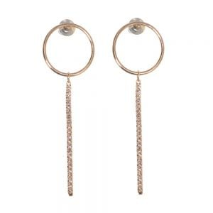 Gift Boxed Fashion Earrings: Delicate Swarovski drop Rose Gold  earrings with a hoop and crystal bar detail