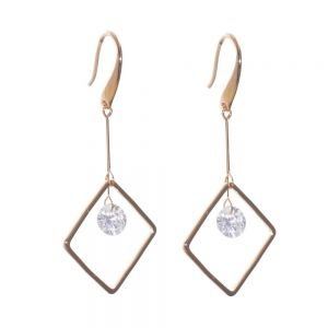 Gift Boxed Fashion Earrings: Delicate Swarovski drop geometric  earrings with a central crystal detail (GR15)