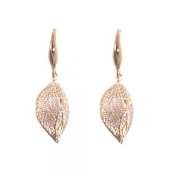 Gift Boxed Fashion Earrings: Delicate Swarovski drop Rose Gold earrings in a 3D leaf design(GR4)