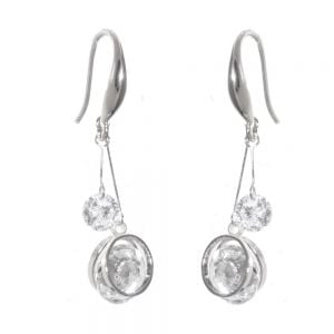 Gift Boxed Fashion Earrings: Delicate Swarovski drop disc earrings with a central crystal detail (GR17)
