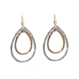 Gift Boxed Fashion Earrings: Hammered double teardrop earrings