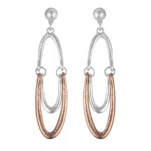 Contemporary Costume Jewellery: Dramatic Two Tone Statement Earrings with Pearl Stud