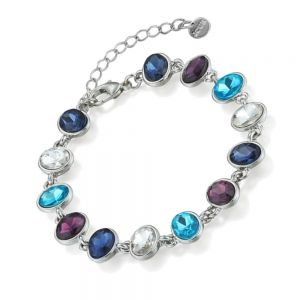 Sparkle Fashion Jewellery Collection: Simple Crystal Bracelet with Aqua Blue, Navy, Dark Purple and Clear Crystal Gems