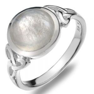 Celtic Collection: Sterling Silver Ring with Round Moonstone