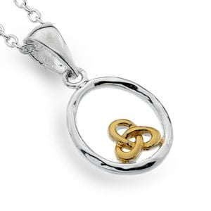 Celtic Sterling Silver Jewellery: Circle Pendant with Small Gold Triquetra Design