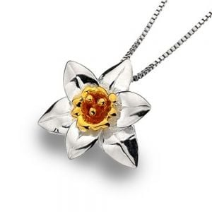 Sterling Silver and Gold Daffodil Pendant