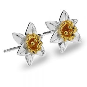 Sterling Silver and Gold Daffodil Earrings