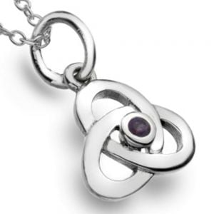 Celtic Collection: Sterling Silver Knotwork Pendant with Amethyst