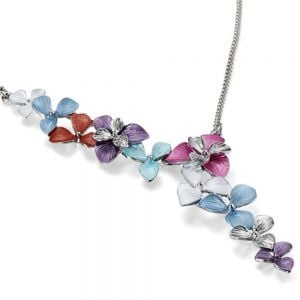 Unique Fashion Jewellery: Silver Necklace with Asymmetric Floral Design in Pastel Rainbow Shades