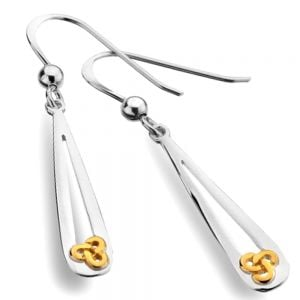 Celtic Collection: Long Silver Teardrop Earrings with Gold Trinity Knot