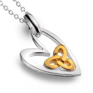 Celtic Collection: Sterling Silver Lopsided Heart Pendant with Gold Knotwork