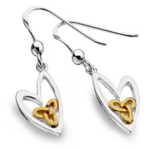 Celtic Collection: Sterling Silver Lopsided Heart Drops with Gold Knotwork