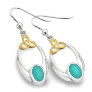 Celtic Collection: Sterling Silver and Gold Earrings with Turquoise