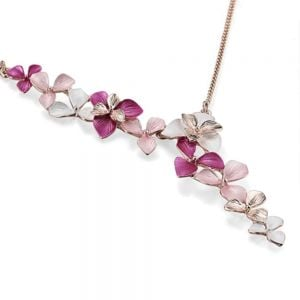 DELICATE PINK PASTEL SHADE FLORAL NECKLACE WITH CRYSTAL DETAILING