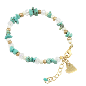 New from Danon Jewellery: Turquoise Gemstones T bracelet with a small heart