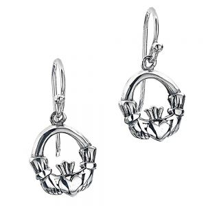 Celtic Collection: Simple Sterling Silver Claddagh Drop Earrings