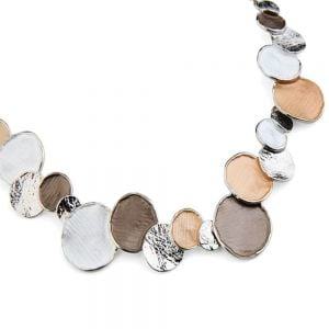 Fabulous Fashion Jewellery: Caramel Tone Bubble Necklace with Matt White and Shiny Silver Textured Details