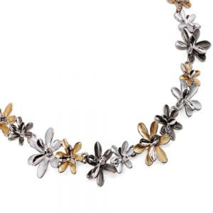 DELICATE BROWN TONE SHADE FLORAL NECKLACE