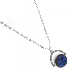 Rue B Fashion Jewellery: Sparkly Blue Spinning Druzy Pendant with Silver Tone (M32)