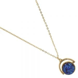 Rue B Fashion Jewellery: Sparkly Blue Spinning Druzy Pendant with Gold Tone (M69)