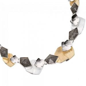 BROWN PASTEL FLAT GEOMETRIC FOLDED DISC PENDANT NECKLACE