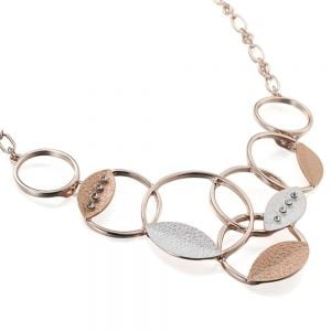OVERLAPPING HOLLOW CIRCLES NECKLACE SET IN ROSE GOLD