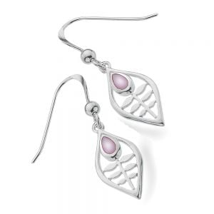 Mackintosh Sterling Silver Jewellery: Tulip Design Earrings With Mother of Pearl Inlay