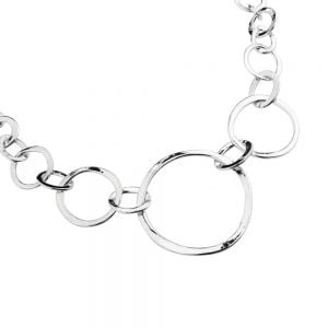 Long delicate interlinked disc design necklace in silver