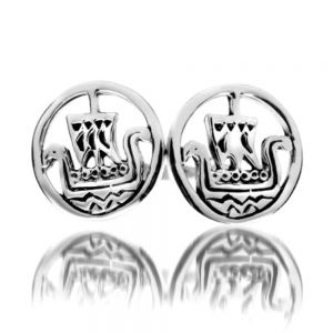 Sterling Silver Viking Longboat Stud Earrings