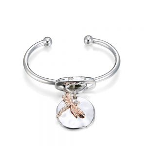 DRAGONFLY CHARM OPEN LINK SILVER TONE BANGLE