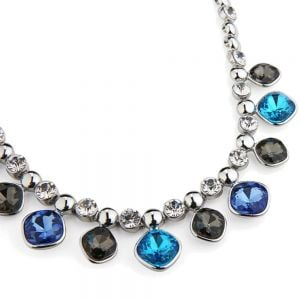 CHUNKY DEEP BLUE AND TEAL TONE GEMS NECKLACE IN SILVER FINISH  (YK15)