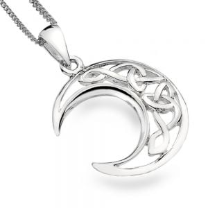 Elegant Sterling Silver Jewellery: Crescent Moon Pendant with Celtic Knotwork Design
