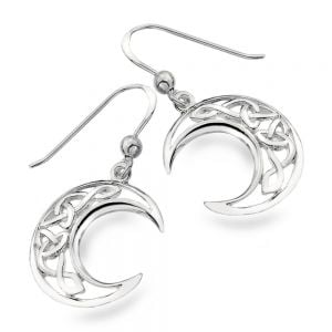 Elegant Sterling Silver Jewellery: Crescent Moon Earrings with Celtic Knotwork Design