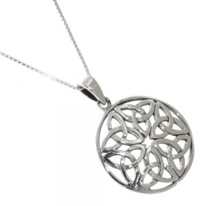 Celtic Sterling Silver Jewellery: Viking Shield-Inspired Round Pendant with Triquetra Knotwork Design