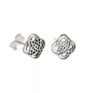 Sterling Silver Jewellery: Intricate Celtic Knotwork Stud Earrings
