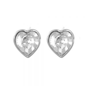 Sterling Silver Jewellery: Gorgeous Sparkly Swarovski Loveheart Stud Earrings