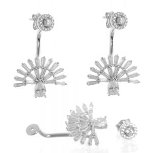 Fabulous Sterling Silver Jewellery: Art Deco Crystal Embellished Earrings (Front Stud Fastening)