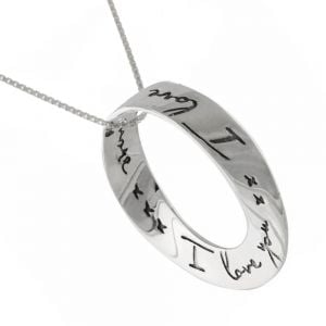 I love you  Möbius Strip Sterling Silver Pendant with Handwritten Style Quote: