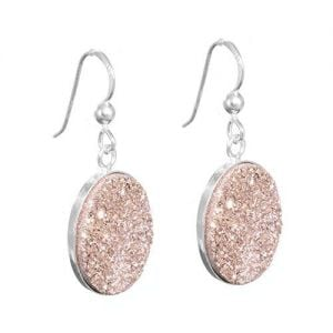 Fabulous Sterling Silver Jewellery: Oval Orange Druzy Earrings