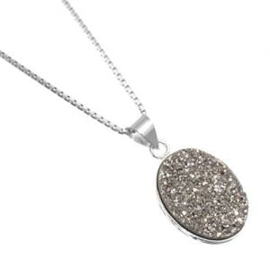 Beautiful Sterling Silver Jewellery: Dazzling Silver Sparkle Grey Oval Druzy Pendant