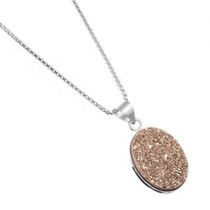 Fabulous Sterling Silver Jewellery: Oval Pinky/Orange Druzy Pendant